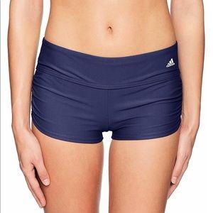 Adidas Solid Shirred Swim Shorts Sz Small